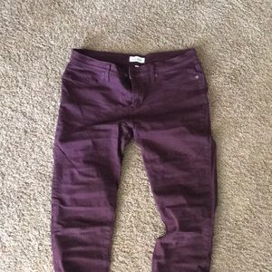Lila Ryan wine colored stretchy jeans